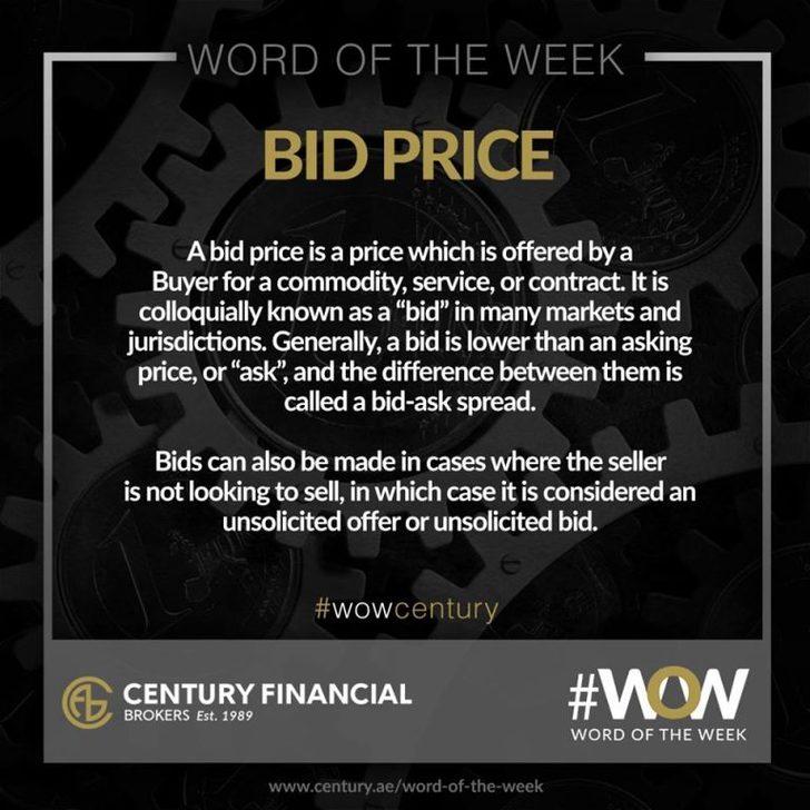 Bid Price - Word of the Week   Century Financial