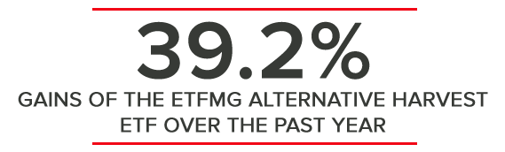 39.2% GAINS OF THE ETFMG ALTERNATIVE HARVEST ETF OVER THE PAST YEAR