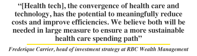 [Health tech], the convergence of health care and technology, has the potential to meaningfully reduce costs and improve efficiencies